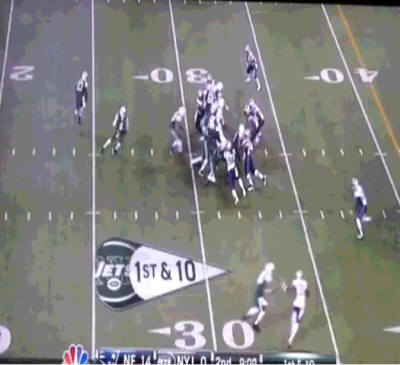 QB Mark Sanchez with no one to hand off to