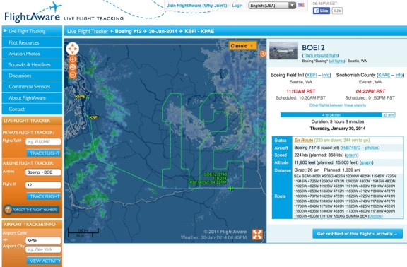 Boeing 747 12 flight pattern