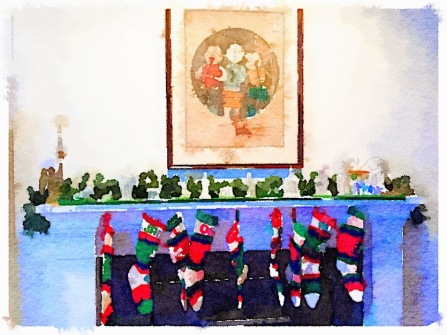 Christmas Mantel Stockings Hung with Care