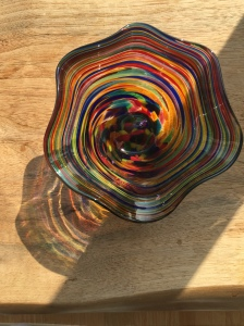 Rainbow glass reflecting and refracting